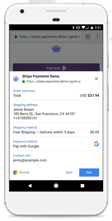 Payment request API v Chrome pro Android