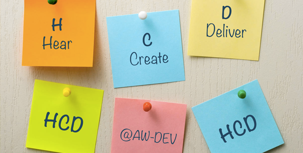 H - hear - HUMAN, C - create - CENTERED, D - deliver - DESIGN, @AW-DEV