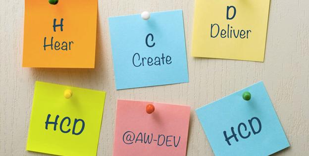 H - hear - HUMAN, C - create - CENTERED, D - deliver - DESIGN, @AW-DEV