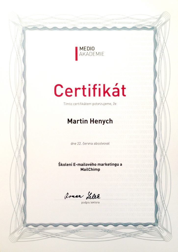 medio-akademie-martin-henych-certifikat