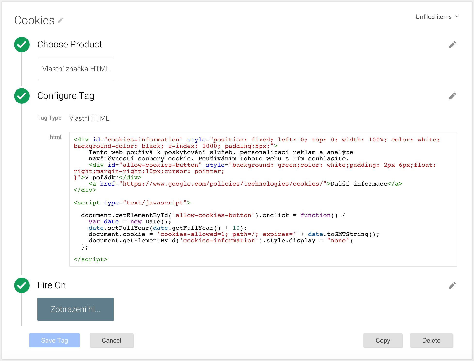 Vlastní HTML značka